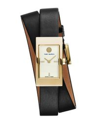 Tory Burch | Black 'buddy Signature' Rectangular Wrap Leather Strap Watch | Lyst