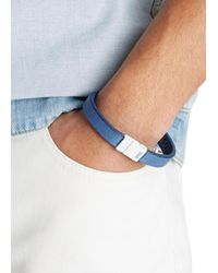 DSquared² | Blue Navy Leather Bracelet for Men | Lyst