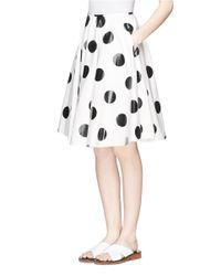 Chictopia | White Glossy Polka Dot Print Poplin Skirt | Lyst