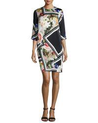 Preen By Thornton Bregazzi - Multicolor Floral-border-print Silk Dress - Lyst