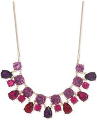 Nine West - Pink Gold-Tone Multicolor Crystal Frontal Necklace - Lyst