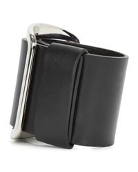 Givenchy | Black Buckled Leather Cuff | Lyst