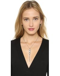 Ela Rae | Metallic Yaeli Y Trio Pendant Diamond Necklace - Clear/rhodium | Lyst