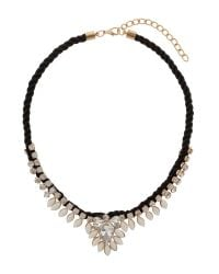 Mikey | White Hanging Crystal Fillagary Rope Necklace | Lyst