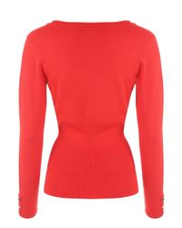 Jane Norman - Red Deep Rib Scoop Jumper - Lyst