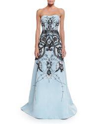 Carolina Herrera - Blue Embroidered Silk Gown - Lyst