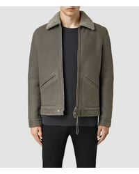 AllSaints | Gray Pilot Shearling Jacket for Men | Lyst