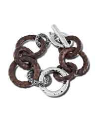 John Hardy | Brown Link Bracelet With Rose Wood | Lyst