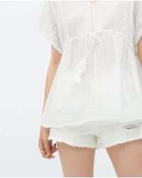 Zara | Natural Embroidered Tunic | Lyst