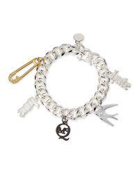 McQ - Metallic Shiny Silvertone Love/Hate Charm Bracelet - Lyst