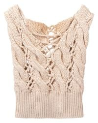 MM6 by Maison Martin Margiela - Natural Open Cable Knit Top - Lyst