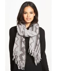 Eileen Fisher - Gray Wool Blend Jacquard Scarf - Lyst