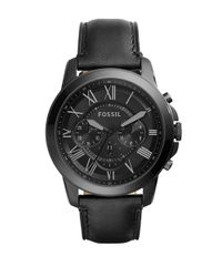 Fossil | Grant Black Ip Stainless Steel Black Leather Strap Chronograph for Men | Lyst