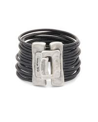 Uno De 50 | Black Multi Strand Leather Cuff Bracelet | Lyst
