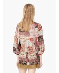 Mango - Natural Flowy Printed Blouse - Lyst
