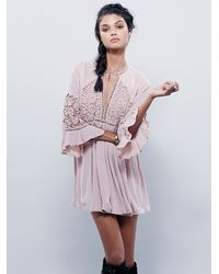 Free People - Pink Womens Wildest Dreams Lace Tunic - Lyst