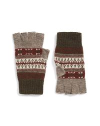 Barbour | Green Fair Isle Fingerless Wool Gloves for Men | Lyst