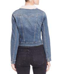 Jessica Simpson | Blue Sherpa-collared Denim Jacket | Lyst