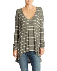 Free People - Green Striped Sunset Park Pullover - Lyst