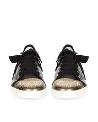 Lanvin - Metallic Capped-Toe Leather Trainers - Lyst