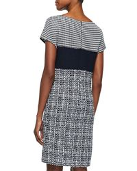 St. John - Blue Textured Tweed Knit Cap-sleeve Dress - Lyst
