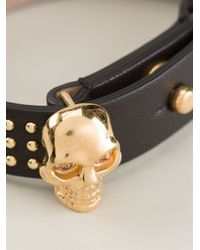 Alexander McQueen - Metallic Skull Detail Bracelet - Lyst