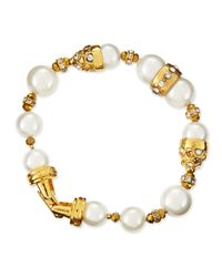 Jose & Maria Barrera | White 10 & 12mm Pearl Beaded Bracelet | Lyst