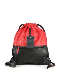 DIESEL - Red Two-tone Drawstring Leather Backpack - Lyst