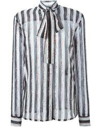 Haider Ackermann - Black Striped Pussy Bow Shirt - Lyst