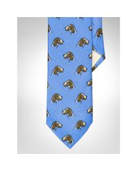 Polo Ralph Lauren - Blue Dog-print Linen Narrow Tie for Men - Lyst