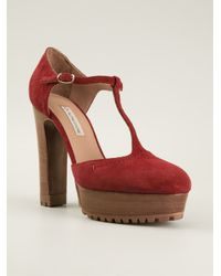 600597c1321 Lyst - L Autre Chose Ridged Platform And Chunky Heel T-Bar Sandals ...