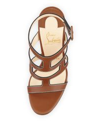 Christian Louboutin   Brown Cardamona Ankle-Wrap Red Sole Sandal   Lyst
