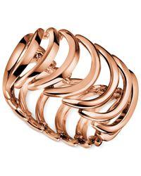 Calvin Klein - Metallic Rose Gold-tone Pvd Curved Link Ring - Lyst