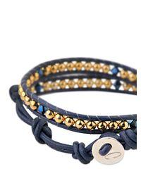 Colana - Blue Leather Wrap Bracelet With Swarovski - Lyst