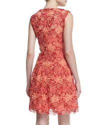 Monique Lhuillier - Pink Sleeveless 3d Guipure Lace Dress - Lyst