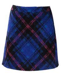 Victoria, Victoria Beckham - Blue Checked A-line Skirt - Lyst