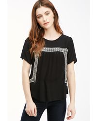 Forever 21 | Black Embroidered Peasant Top | Lyst