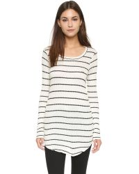 Chaser - Long Sleeve Striped Thermal Tee - Vanilla/black - Lyst