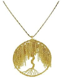 Aeravida | Metallic Modern Brass Chain Links Flourishing Tree Of Life Necklace | Lyst