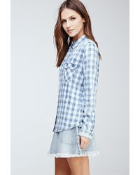 Forever 21 - Blue Faded Twill-woven Gingham Shirt - Lyst