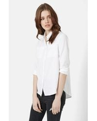 TOPSHOP | White Button Front Chambray Shirt | Lyst