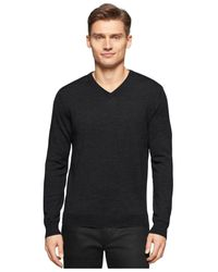 Calvin Klein | Black Big And Tall Merino V-neck Sweater for Men | Lyst
