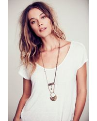 Free People - Brown Lotus Layered Necklace - Lyst
