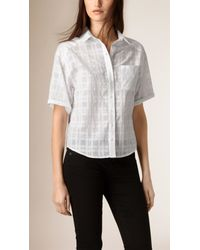 Burberry - Cropped Check Cotton Shirt White / White - Lyst
