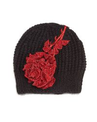 Jennifer Behr - Red Crystal Rosalia Knit Beanie Hat - Lyst