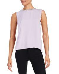 DKNY | Purple Embellished Sleeveless Blouse | Lyst