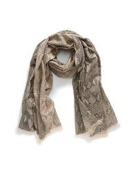 Diane von Furstenberg | Natural Metallic Snakeskin Pattern Scarf - Metallic | Lyst