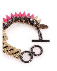 Venna | Pink Crystal Pavé Tiger Spike Bracelet | Lyst