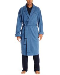 BOSS - Blue 'shawl Collar Robe' | Cotton Herrinbone Robe for Men - Lyst