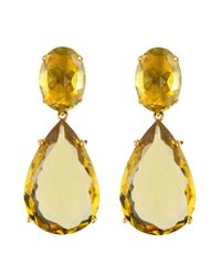 Bounkit | Yellow Faceted Lemon Quartz Earring | Lyst